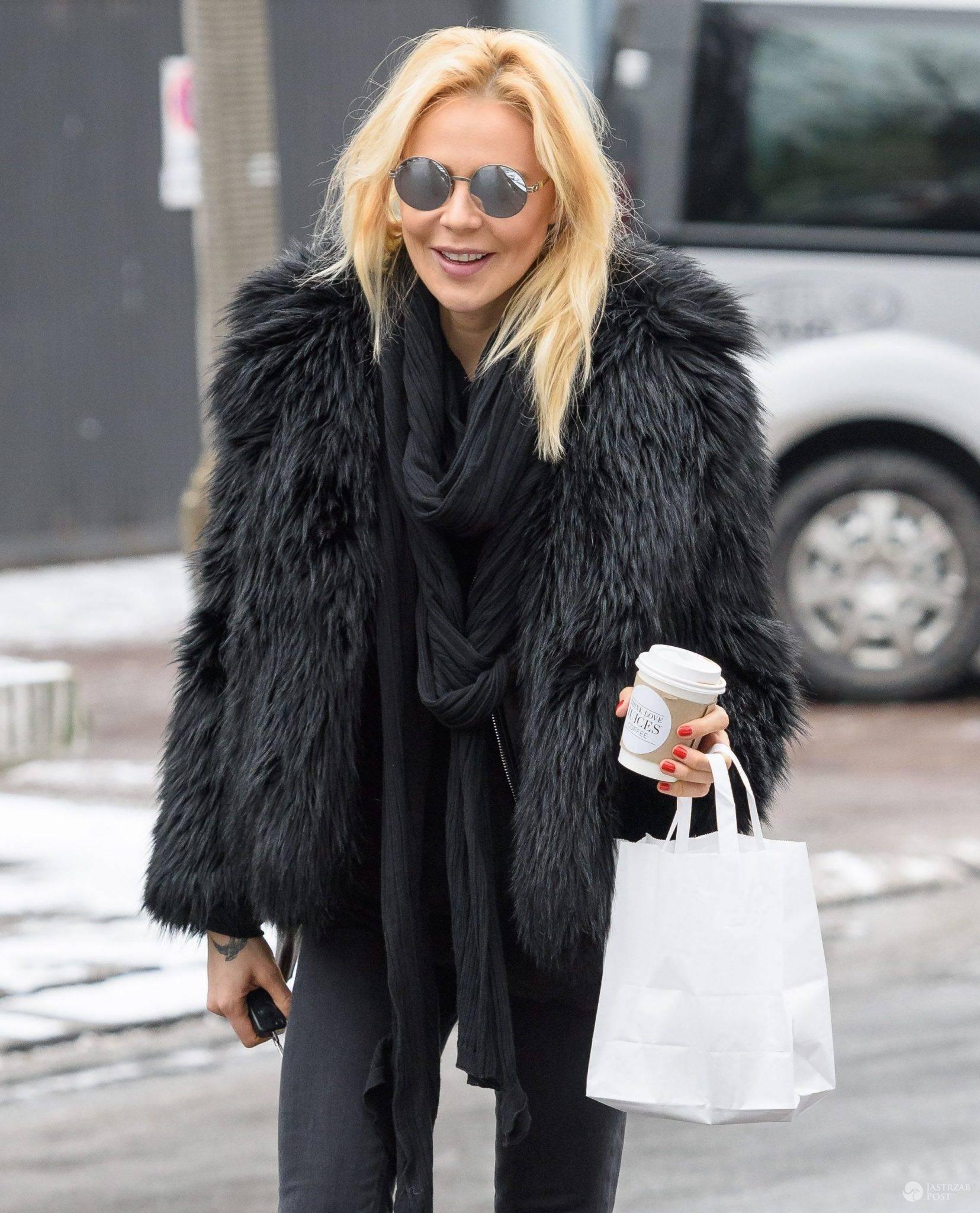 Maja Sablewska w czarnej futrzanej kurtce (fot. EOS)