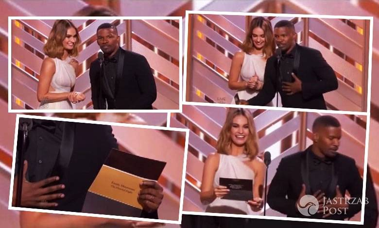 Jamie Foxx Lily James Golden Globes 2016