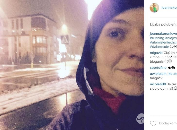 Joanna Koroniewska biega po śniegu fot. Instagram.com