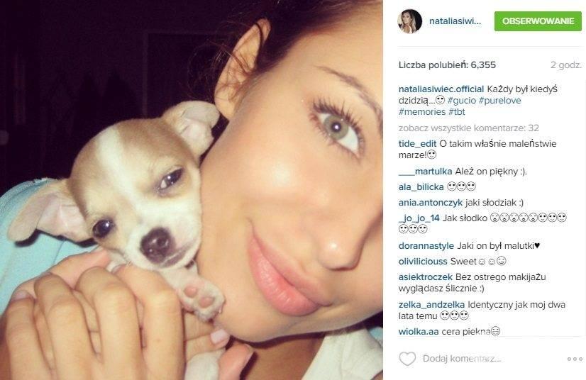 Natalia Siwiec i szczeniak Gucio