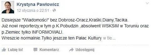 Krystyna Pawłowicz ocenia pracę Klaudiusza Pobudzina