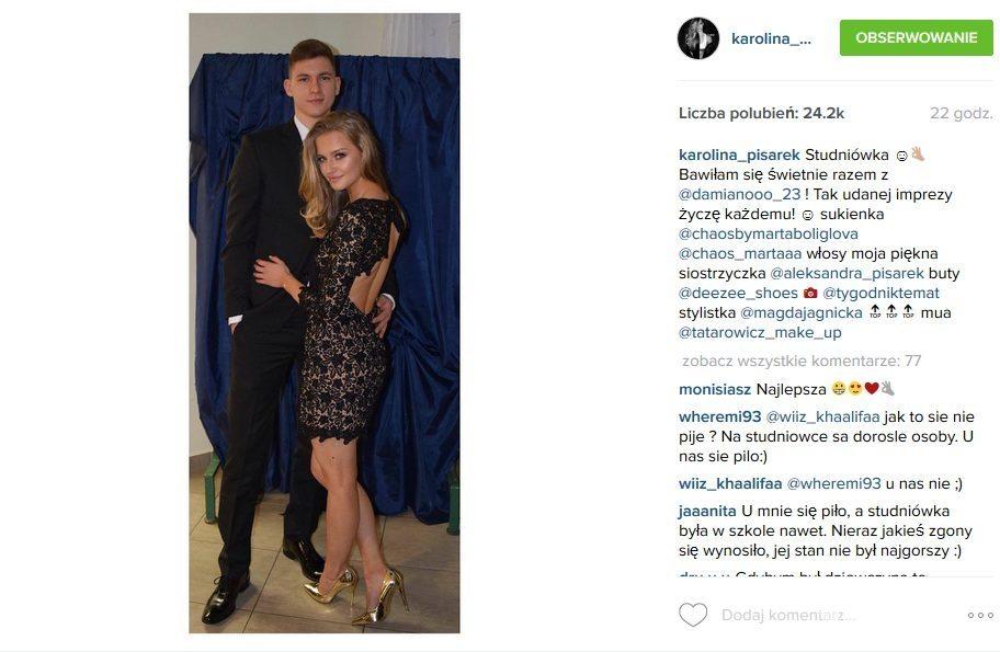 Karolina Pisarek (w sukience Marta Boliglova) i jej chłopak Damian Szczepanik (fot. Instagram)