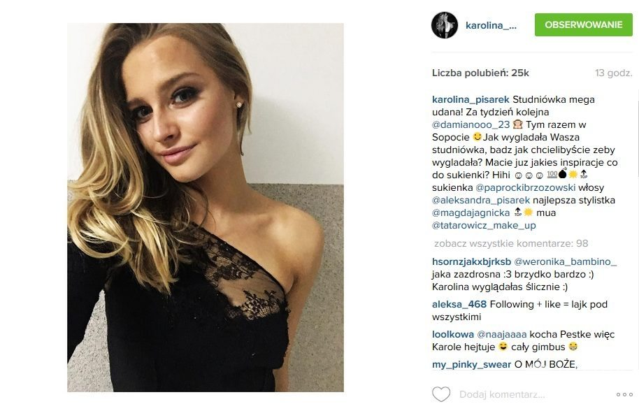 Sukienka Paprocki & Brzozowski. W tej kreacji Karolina Pisarek pójdzie na studniówkę swojego chłopaka Damiana Szczepanika (fot. Instagram)