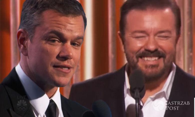 Złote Globy 2016 - Matt Damon, Ricky Gervais
