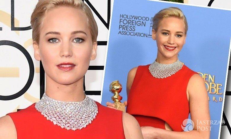 Kreacja: Dior, biżuteria: Chopard. Jennifer Lawrence, Złote Globy 2016 (fot. East News, ONS)