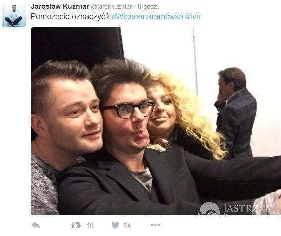 Jarosław Kuźniar z Kubą Wojewódzkim i Magdą Gessler na ramówce TVN wiosna 2016 fot. twitter.com