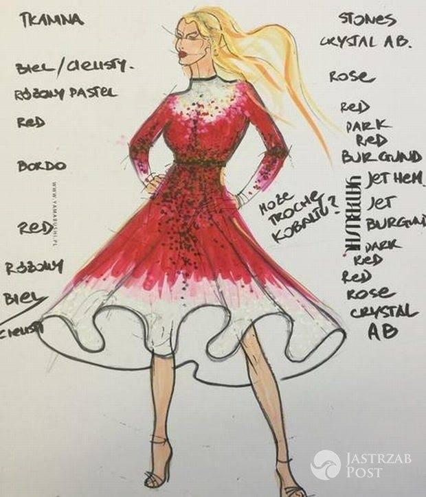 Projekt sukni, w której Marcelina Zawadzka wystąpiła na Sylwestrze z Dwójką fot. materiały prasowe