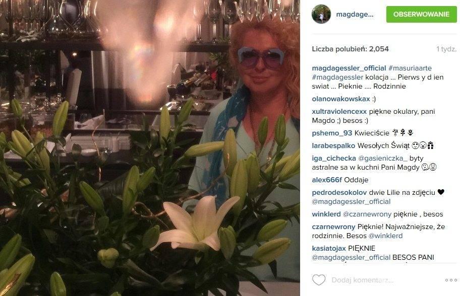 Magda Gessler w niebieskich okularach (fot. Instagram)