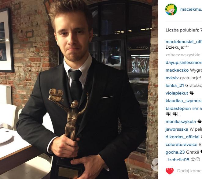 Maciej Musiał na Instagramie - Telekamery 2016