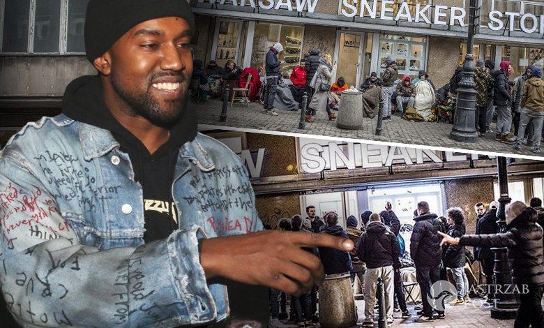 Kolejka pod sklepem w warszawie po buty Kanye Westa (fot. ONS, East News, Instagram)
