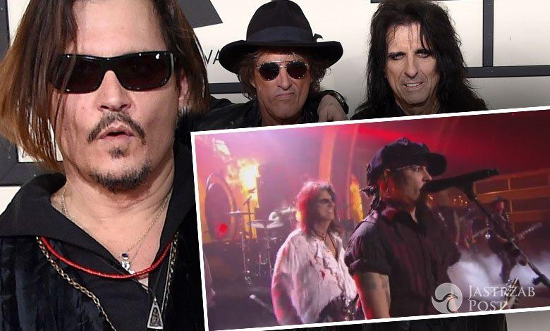 Zespół Hollywood Vampires: Johnny Depp, Joe Perry i Alice Cooper, Grammy 2016 (fot. ONS)