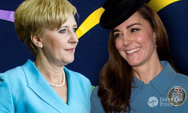Agata Duda w niebieskiej sukience kontra księżna Kate w niebieskim płaszczu Alexander McQueen (fot. East News, ONS)