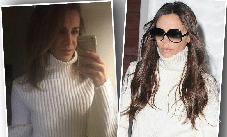 Victoria Beckham w białym swetrze z golfem (fot. East News)