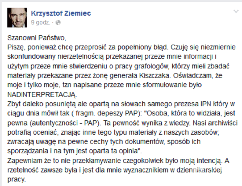 Facebook Krzysztofa Ziemca