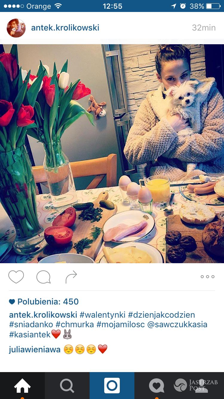 Antek Królikowski i Kasia Sawczuk podczas walentynkowego śniadania