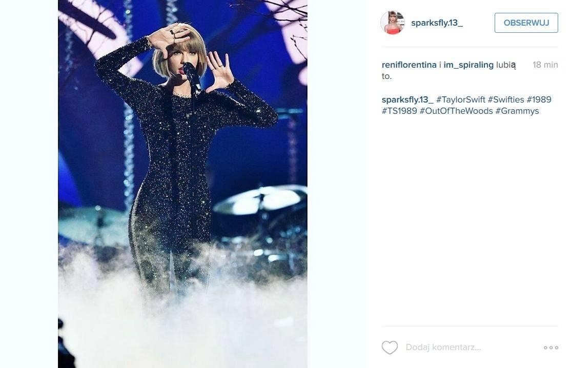 """Taylor Swift z piosenką """"Out of the Woods"""" otworzyła Grammy 2016 (fot. Instagram)"""