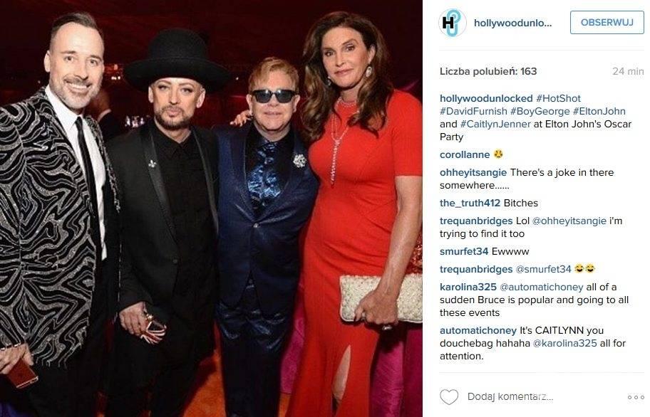 Caitlyn Jenner, doroczna impreza oscarowa u Eltona Johna (fot. Instagram)