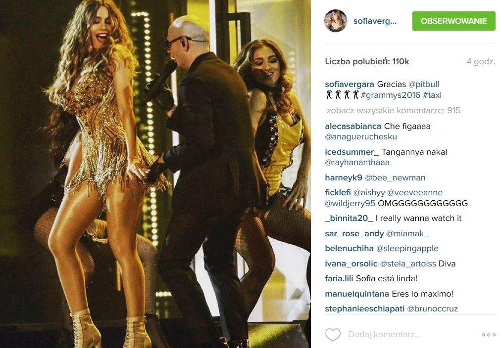 Sofia Vergara (sukienka: Mark Zunino) i Pitbull, Grammy 2016 (fot. Instagram)