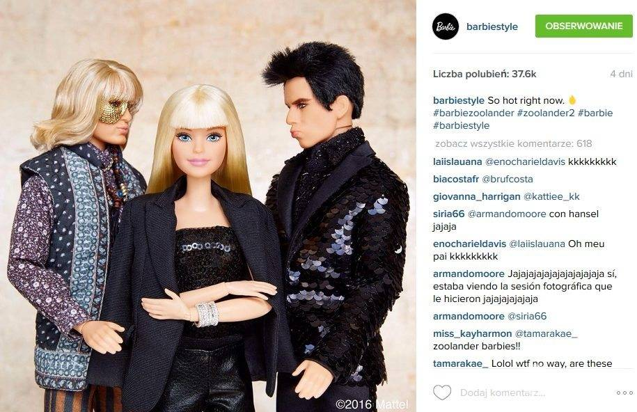 Derek Zoolander został Kenem, chłopakiem Barbie (fot. Instagram)