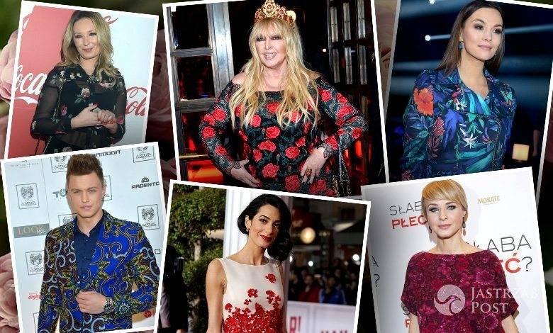 Gwiazdy w ubraniach z kwiatowym motywem