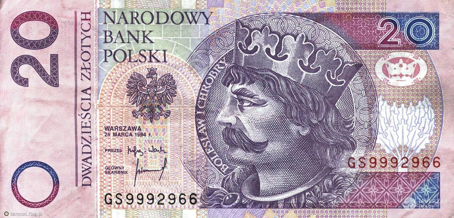 Obecny banknot 20 złotych