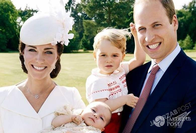 Chrzest księżniczki Charlotte. Na zdj. księżna Kate, książę William i książę George