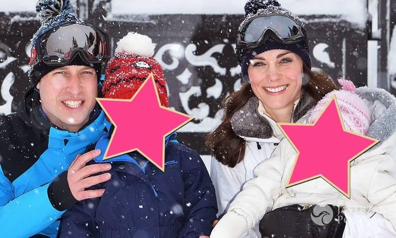 Książę William i księżna Kate z dziećmi, księciem George'em i księżniczką Charlotte, na nartach w francuskich Alpach (fot. East News)