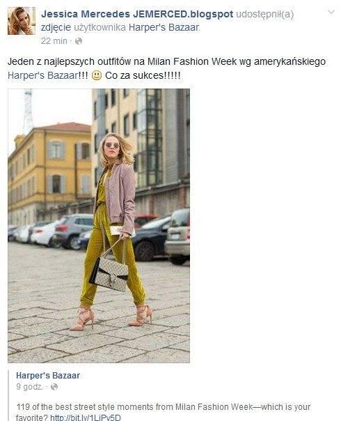 """Jessica Mercedes wyróżniona przez """"Harper's Bazaar"""" za stylizację na Milan Fashion Week"""