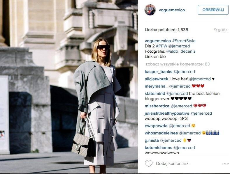 Jessica Mercedes podczas tygodnia mody w Mediolanie zauważona przez Vogue Mexico (fot. Instagram)