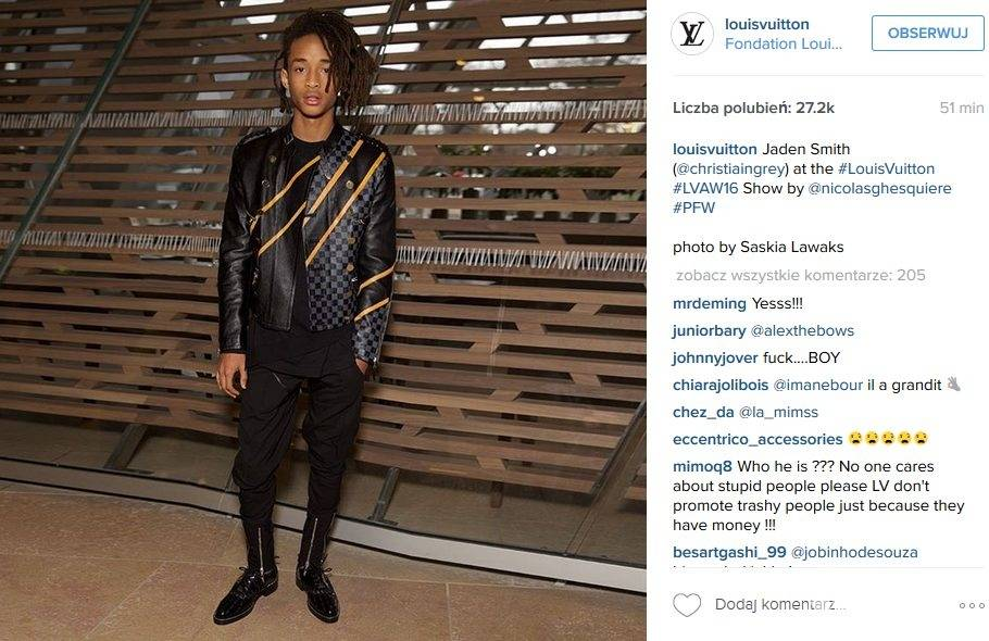 Jaden Smith, pokaz Louis Vuitton jesień-zima 2016/2017 (fot. Instagram)