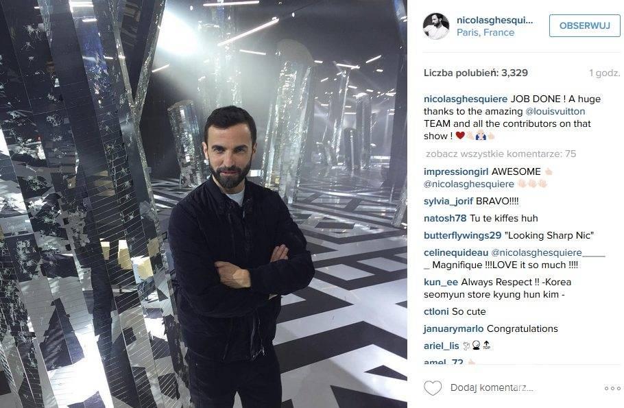 Nicolas Ghesquière, projektant Louis Vuitton, pokaz Louis Vuitton jesień-zima 2016/2017 (fot. Instagram)