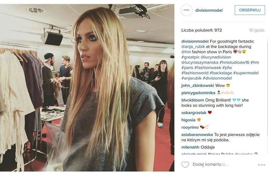 Anja Rubik z włosami na pokazie H&M w Paryżu (fot. Instagram)