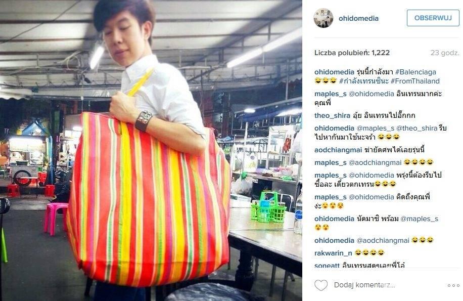 Użytkownik Instagrama z tanią bazarową torbą przypominającą torby z kolekcji Balenciaga na jesień-zima 2016/2017 (fot. Instagram)