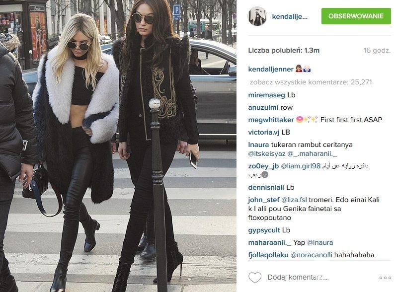 Kendall Jenner i Gigi Hadid w Paryżu podczas tygodnia mody (fot. Instagram)