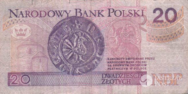 Obecny banknot 20 złotych z tyłu