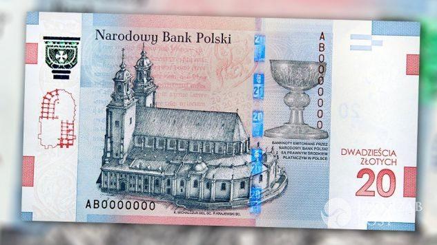 Nowy banknot 20 zł z tyłu fot. NBP