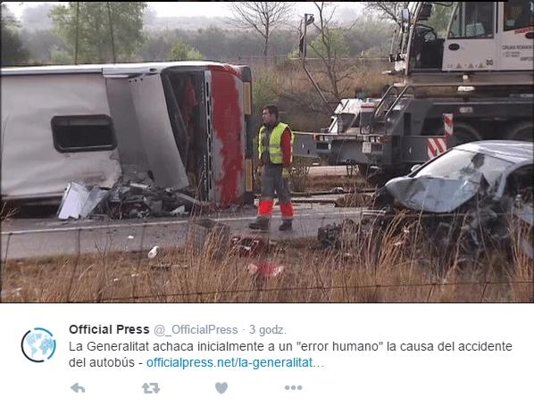 Wypadek autobusu ze studentami Erasmusa w Hiszpanii / źródło Twitter Official Press