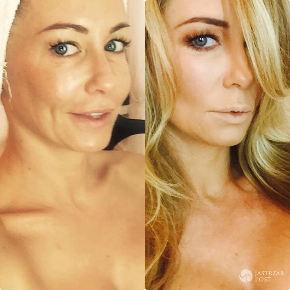 Małgorzata Rozenek przed makijażem i po fot. Facebook.com