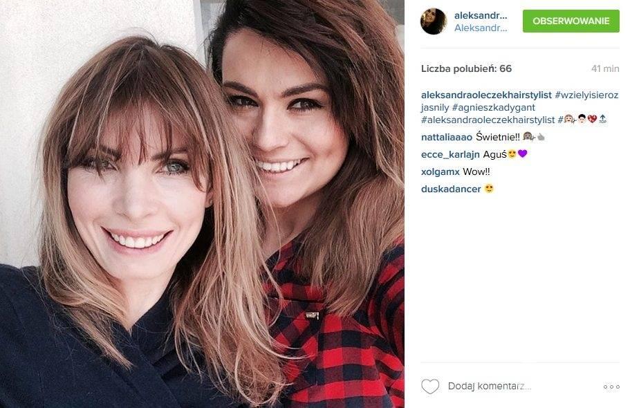 Blond Agnieszka Dygant i autorka jej nowej fryzury Aleksandra Oleczek (fot. Instagram)