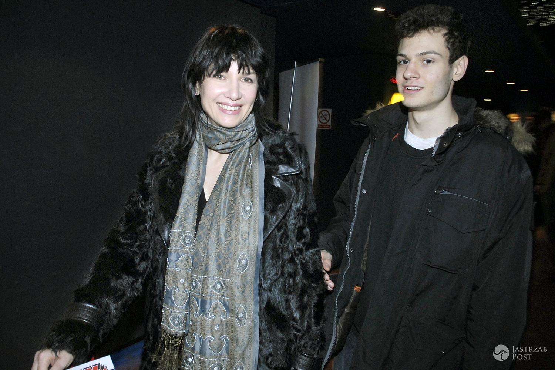 Grażyna Wolszczak z synem Filipem Sikorą