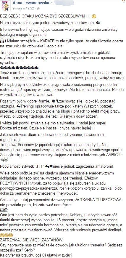Anna Lewandowska (screen Facebook)