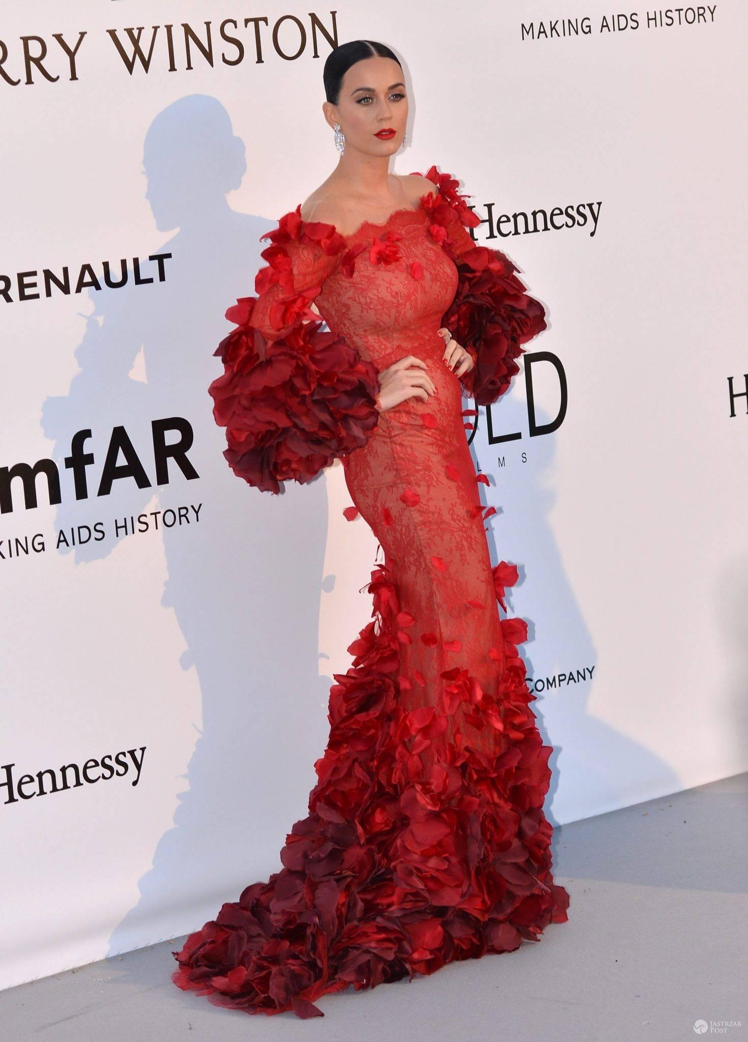 Kreacja: Marchesa. Katy Perry, gala amfAR 2016 w Cannes (fot. ONS)