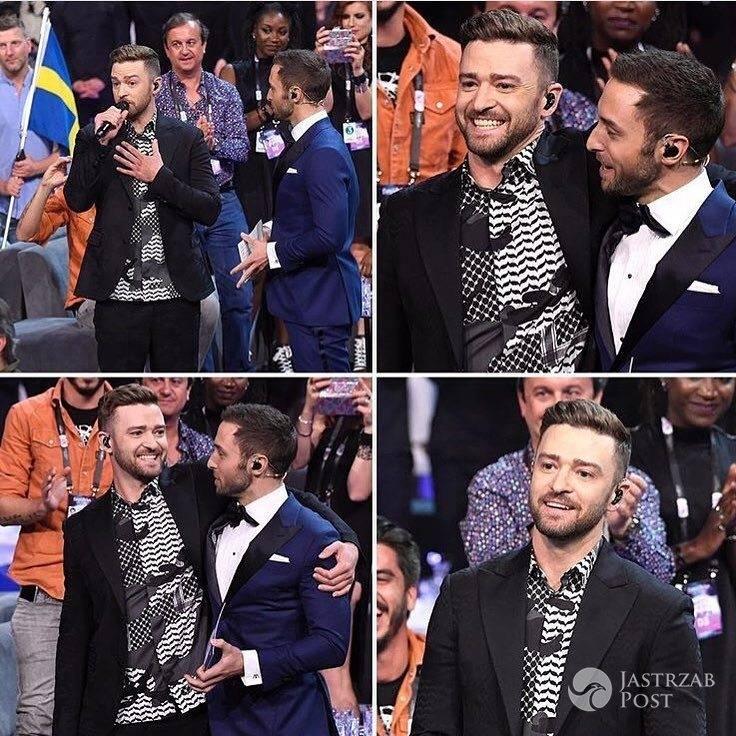 Justin Timberlake wystąpił na Eurowizji 2016. Na zdjęciu z prowadzącym Eurowizję 2016 Mansem Zelmerlowem