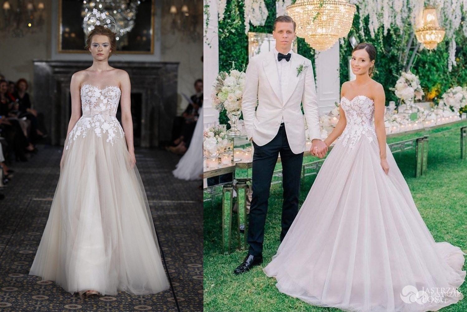 Po lewej: modelka w sukni