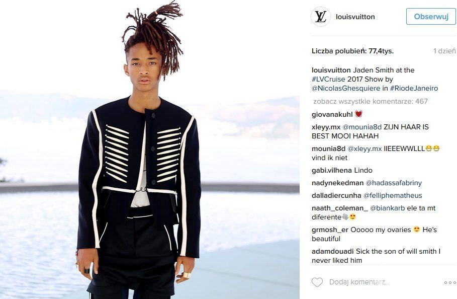 Jaden Smith, pokaz kolekcji ubrań Louis Vuitton Cruise 2017 (fot. Instagram)