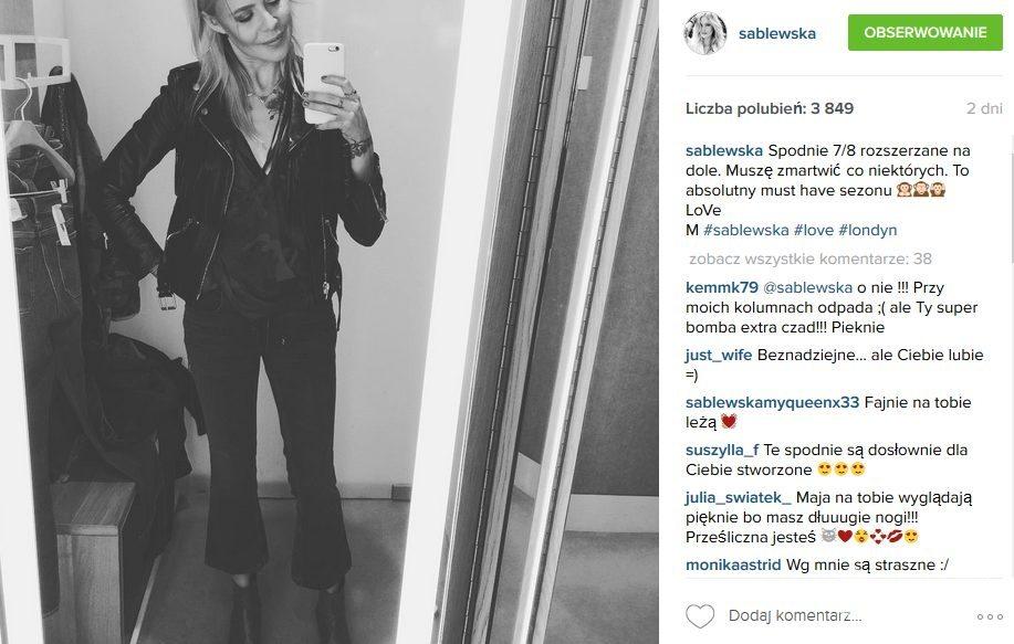 Maja Sablewska lubi spodnie długości 7/8 (fot. Instagram)