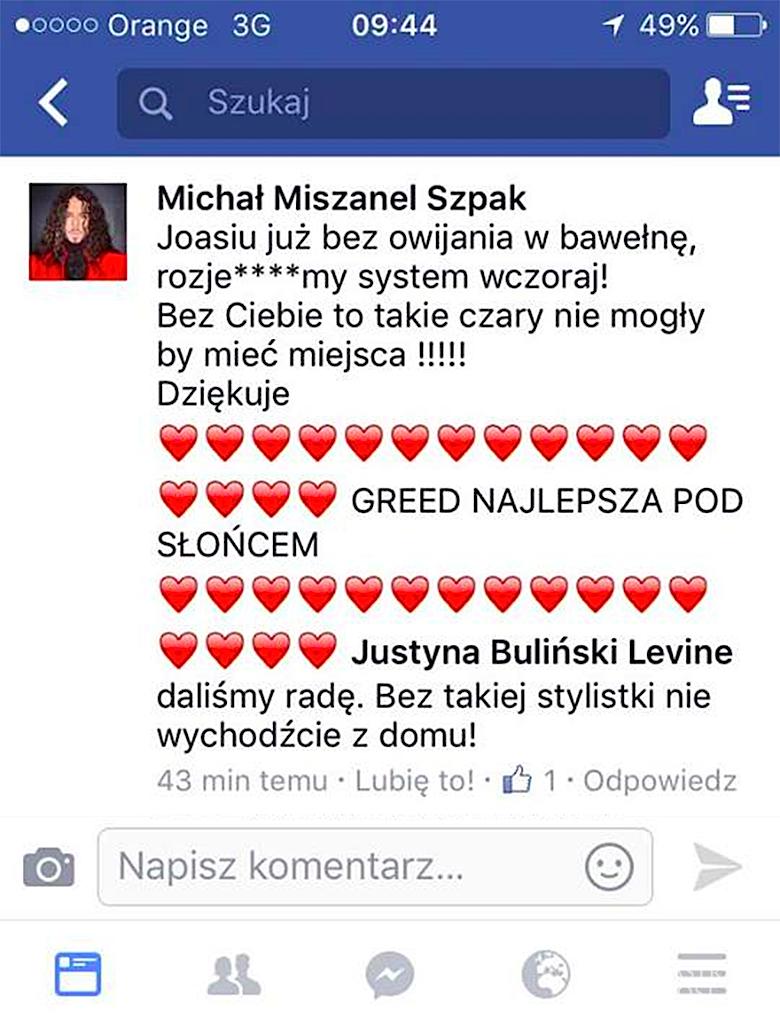 Michał Szpak o stylizacji Greed
