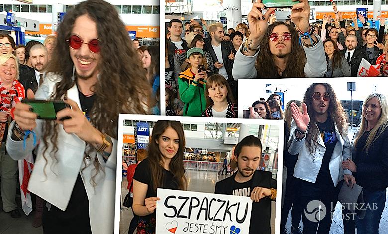 Michał Szpak na lotnisku przed Eurowizją 2016