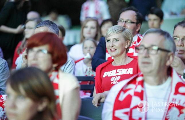 Andrzej Duda i Agata Duda kibicują Polsce w meczu z Portugalią na EURO 2016