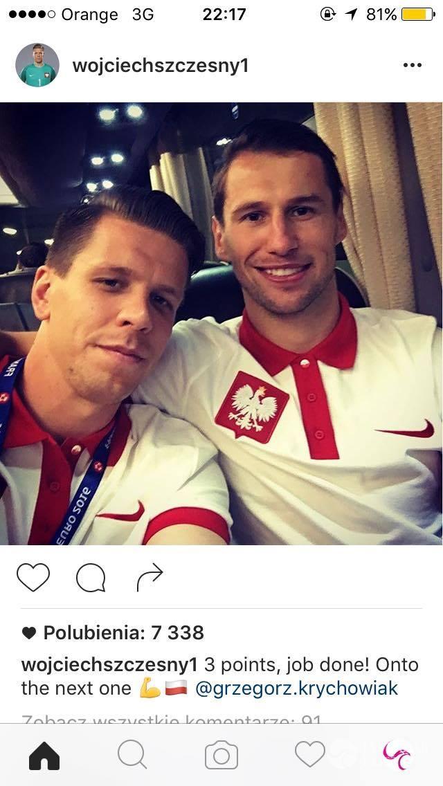 Wojciech Szczęsny i Grzegorz Krychowiak po meczu Polska-Irlandia Północna